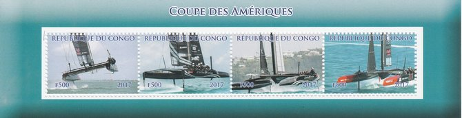 Congo 2017 America's Cup perf sheetlet containing 4 values unmounted mint. Note this item is privately produced and is offered purely on its thematic appeal