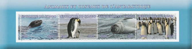 Congo 2017 Antarctic Fauna perf sheetlet containing 4 values unmounted mint. Note this item is privately produced and is offered purely on its thematic appeal