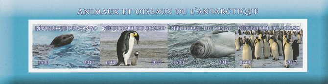 Congo 2017 Antarctic Fauna imperf sheetlet containing 4 values unmounted mint. Note this item is privately produced and is offered purely on its thematic appeal