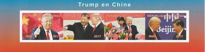 Congo 2017 Donald Trump in China imperf sheetlet containing 4 values unmounted mint. Note this item is privately produced and is offered purely on its thematic appeal