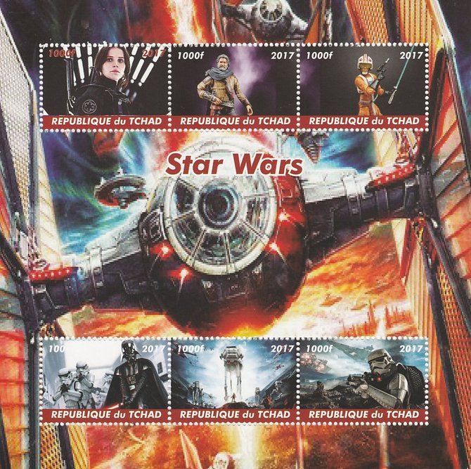 Chad 2017 Star Wars perf sheetlet containing 6 values unmounted mint. Note this item is privately produced and is offered purely on its thematic appeal. .