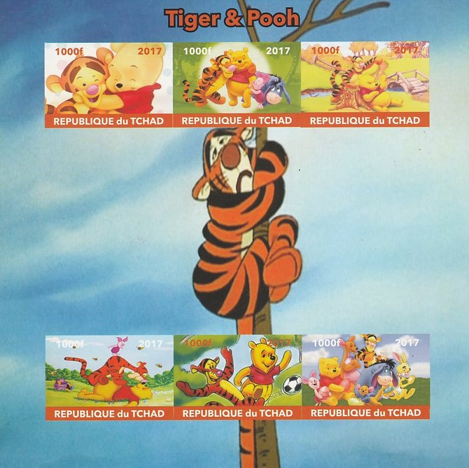 Chad 2017 Disney's Tigger & Pooh imperf sheetlet containing 6 values unmounted mint. Note this item is privately produced and is offered purely on its thematic appeal. .