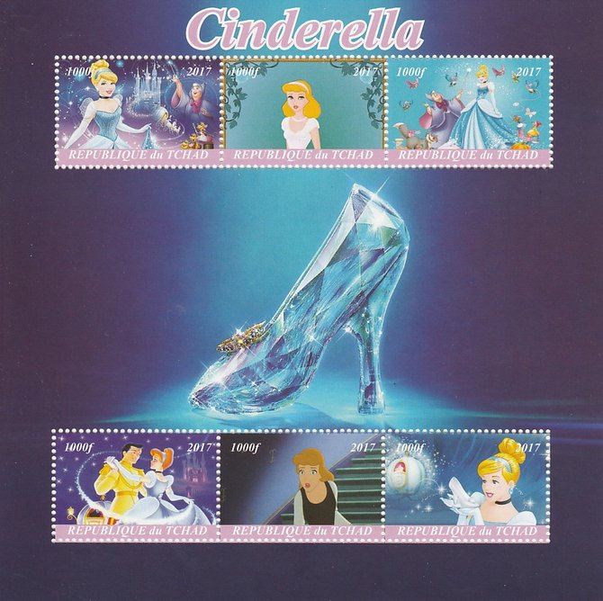 Chad 2017 Disney's Cinderella perf sheetlet containing 6 values unmounted mint. Note this item is privately produced and is offered purely on its thematic appeal. .
