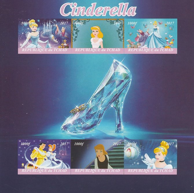 Chad 2017 Disney's Cinderella imperf sheetlet containing 6 values unmounted mint. Note this item is privately produced and is offered purely on its thematic appeal. .