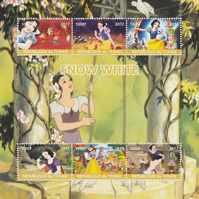 Chad 2017 Disney's Snow White perf sheetlet containing 6 values unmounted mint. Note this item is privately produced and is offered purely on its thematic appeal. .