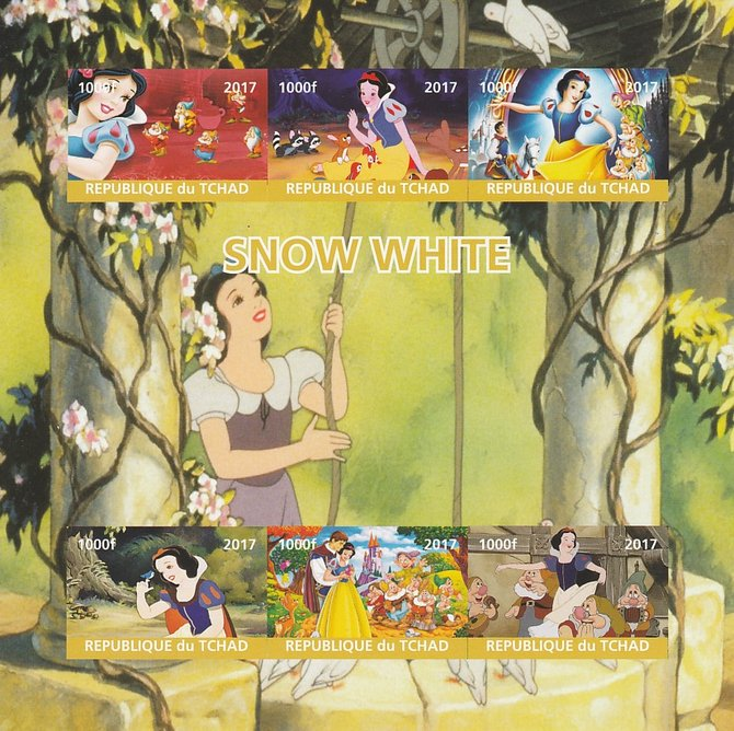 Chad 2017 Disney's Snow White imperf sheetlet containing 6 values unmounted mint. Note this item is privately produced and is offered purely on its thematic appeal. .