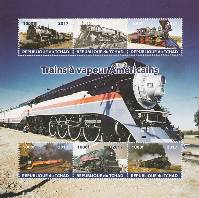 Chad 2017 Steam Trains of America perf sheetlet containing 6 values unmounted mint. Note this item is privately produced and is offered purely on its thematic appeal. .