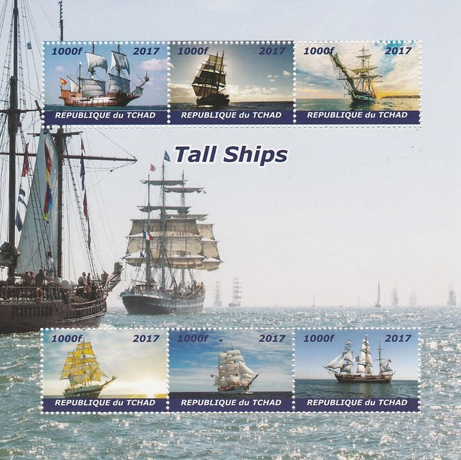 Chad 2017 Tall Ships perf sheetlet containing 6 values unmounted mint. Note this item is privately produced and is offered purely on its thematic appeal. .