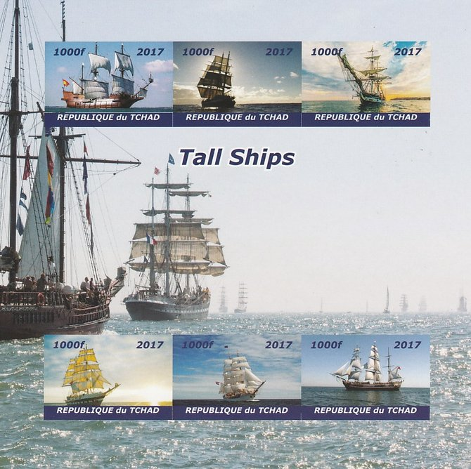 Chad 2017 Tall Ships imperf sheetlet containing 6 values unmounted mint. Note this item is privately produced and is offered purely on its thematic appeal. .