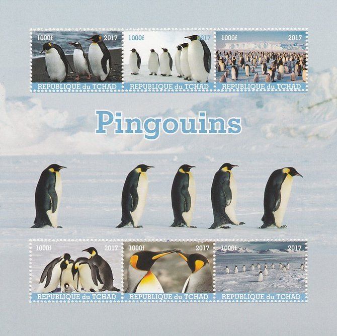 Chad 2017 Penguins perf sheetlet containing 6 values unmounted mint. Note this item is privately produced and is offered purely on its thematic appeal. .