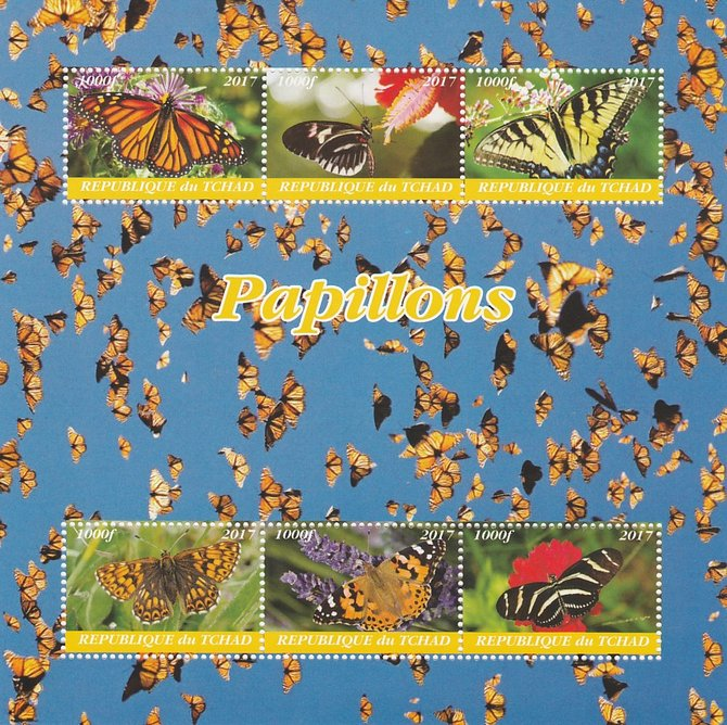 Chad 2017 Butterflies perf sheetlet containing 6 values unmounted mint. Note this item is privately produced and is offered purely on its thematic appeal. .