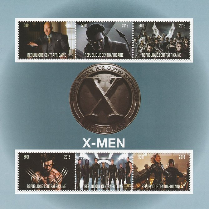 Central African Republic 2016 X-Men #1 perf sheetlet containing 6 values unmounted mint. Note this item is privately produced and is offered purely on its thematic appeal, stamps on films, stamps on movies, stamps on cinema, stamps on sci-fi