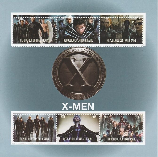 Central African Republic 2016 X-Men #2 perf sheetlet containing 6 values unmounted mint. Note this item is privately produced and is offered purely on its thematic appeal