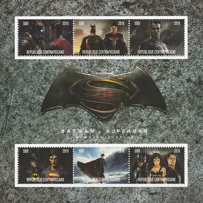 Central African Republic 2016 Batman v Superman #1 perf sheetlet containing 6 values unmounted mint. Note this item is privately produced and is offered purely on its thematic appeal