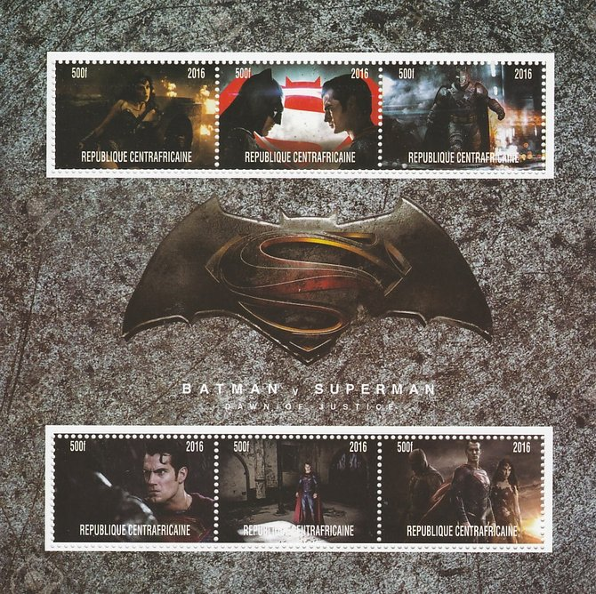 Central African Republic 2016 Batman v Superman #2 perf sheetlet containing 6 values unmounted mint. Note this item is privately produced and is offered purely on its thematic appeal