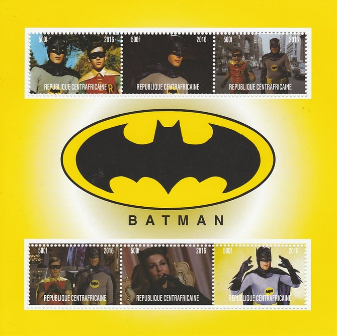 Central African Republic 2016 Batman perf sheetlet containing 6 values unmounted mint. Note this item is privately produced and is offered purely on its thematic appeal