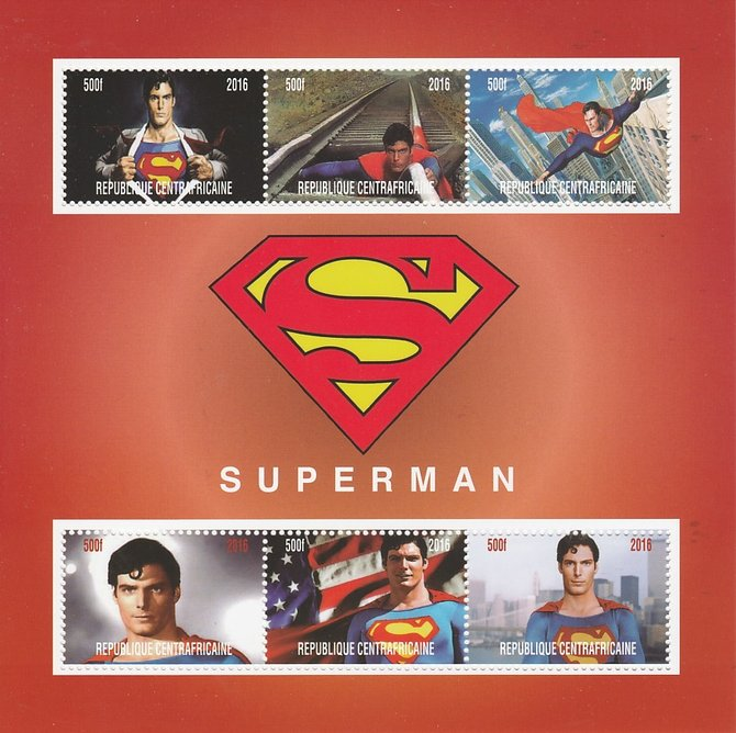 Central African Republic 2016 Superman perf sheetlet containing 6 values unmounted mint. Note this item is privately produced and is offered purely on its thematic appeal