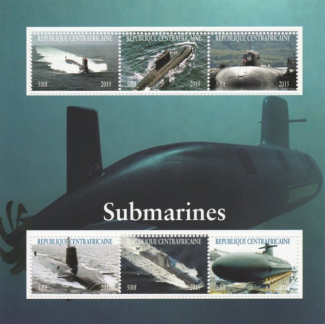Central African Republic 2015 Submarines perf sheetlet containing 6 values unmounted mint. Note this item is privately produced and is offered purely on its thematic appe...