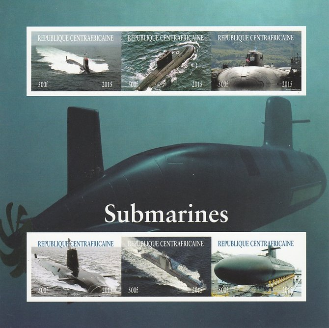 Central African Republic 2015 Submarines imperf sheetlet containing 6 values unmounted mint. Note this item is privately produced and is offered purely on its thematic appeal