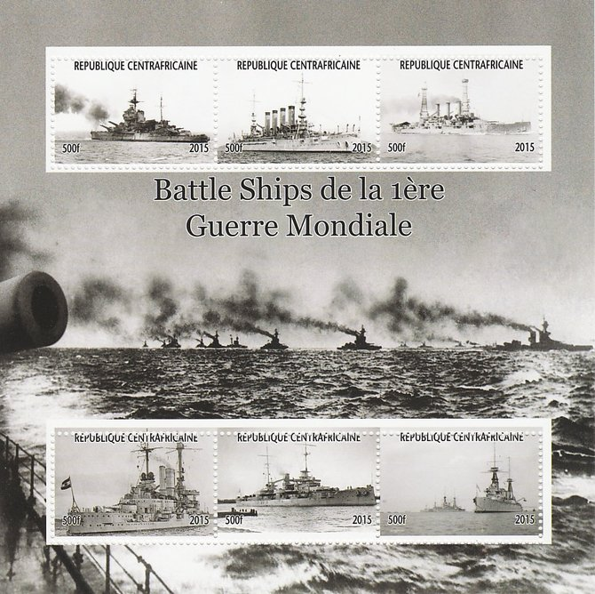 Central African Republic 2015 Battle Ships of WW1 perf sheetlet containing 6 values unmounted mint. Note this item is privately produced and is offered purely on its thematic appeal