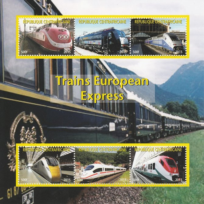 Central African Republic 2015 Express Trains of Europe #1 perf sheetlet containing 6 values unmounted mint. Note this item is privately produced and is offered purely on its thematic appeal