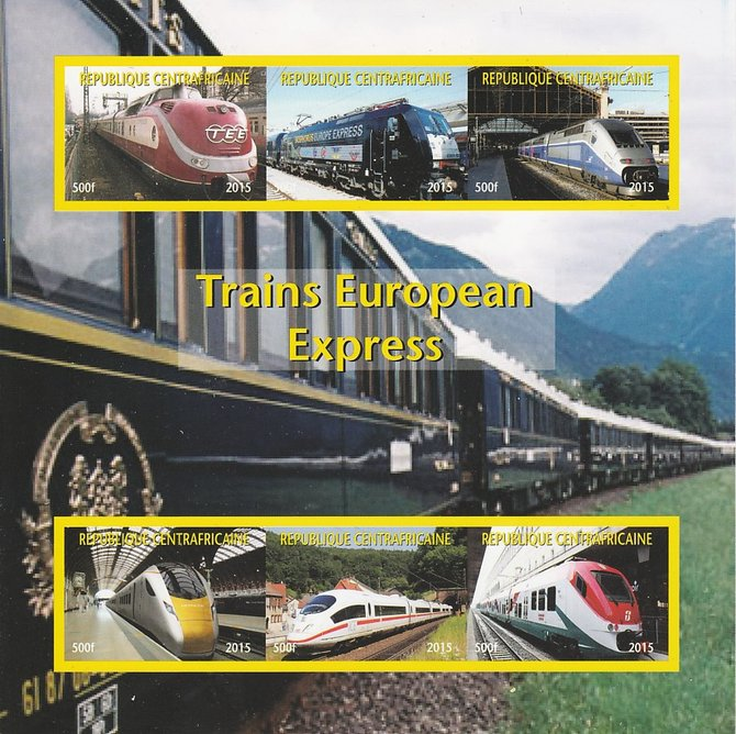 Central African Republic 2015 Express Trains of Europe #1 imperf sheetlet containing 6 values unmounted mint. Note this item is privately produced and is offered purely on its thematic appeal