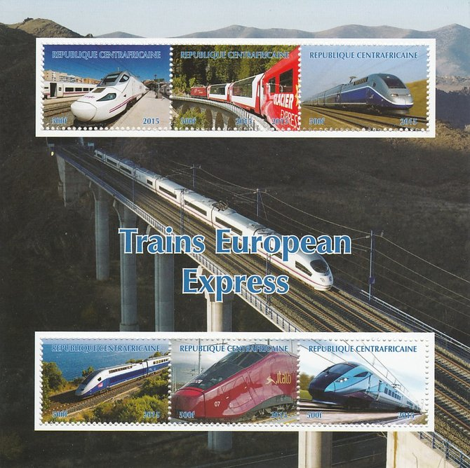 Central African Republic 2015 Express Trains of Europe #2 perf sheetlet containing 6 values unmounted mint. Note this item is privately produced and is offered purely on its thematic appeal