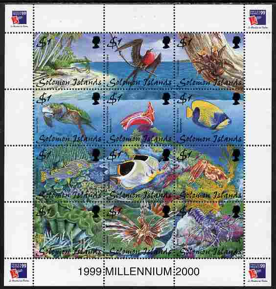 Solomon Islands 1999  Philex France composite perf sheetlet containing 12 values unmounted mint SG 924-35