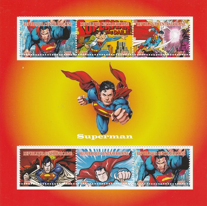 Central African Republic 2015 Superman perf sheetlet containing 6 values unmounted mint