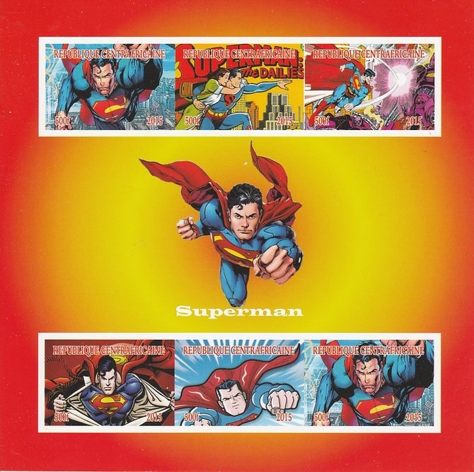 Central African Republic 2015 Superman imperf sheetlet containing 6 values unmounted mint. Note this item is privately produced and is offered purely on its thematic appe...