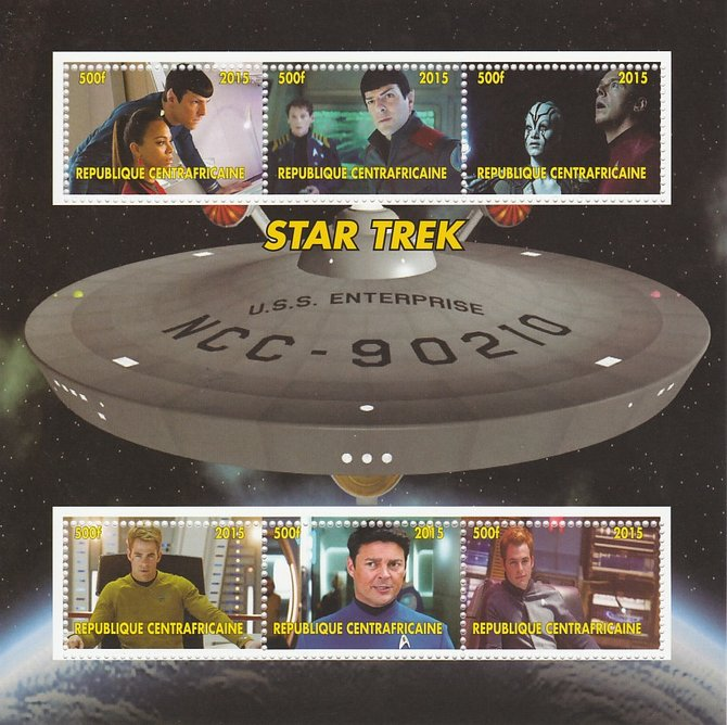 Central African Republic 2015 Star Trek #1 perf sheetlet containing 6 values unmounted mint. Note this item is privately produced and is offered purely on its thematic ap...