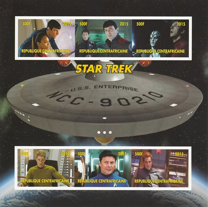 Central African Republic 2015 Star Trek #1 imperf sheetlet containing 6 values unmounted mint. Note this item is privately produced and is offered purely on its thematic ...
