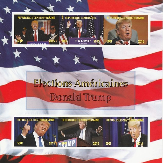 Central African Republic 2015 US Elections - Donald Trump imperf sheetlet containing 6 values unmounted mint. Note this item is privately produced and is offered purely on its thematic appeal