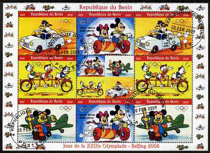 Benin 2009 Beijing Olympics #3 - Disney Characters (Transport) perf sheetlet containing 8 values plus label fine cto used