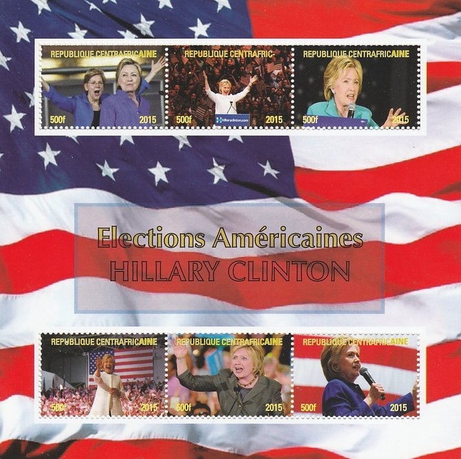 Central African Republic 2015 US Elections - Hillary Clinton perf sheetlet containing 6 values unmounted mint. Note this item is privately produced and is offered purely on its thematic appeal