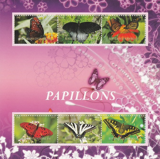 Central African Republic 2015 Butterflies perf sheetlet containing 6 values unmounted mint. Note this item is privately produced and is offered purely on its thematic app...