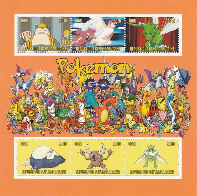 Central African Republic 2015 Pokemon #2 (orange background) perf sheetlet containing 6 values unmounted mint. Note this item is privately produced and is offered purely on its thematic appeal