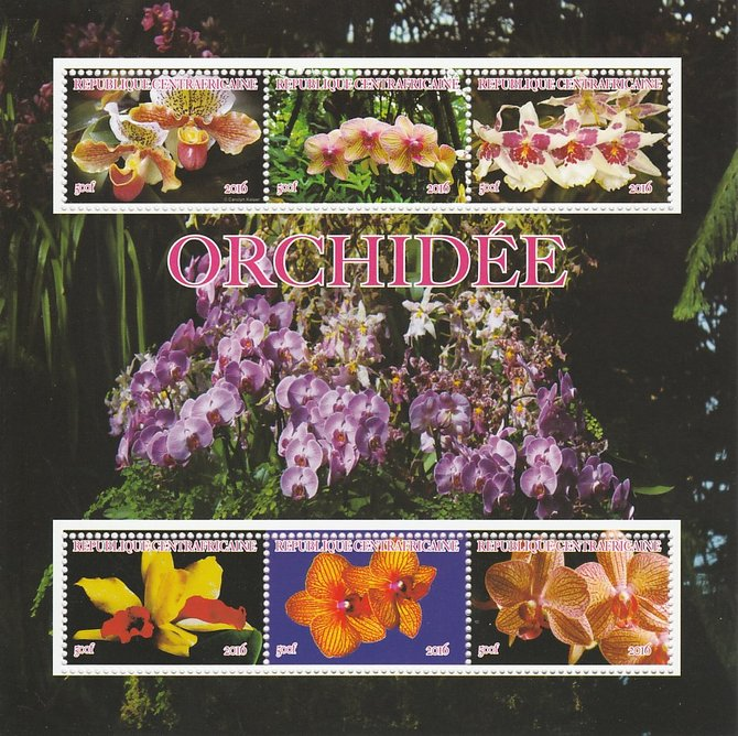 Central African Republic 2016 Orchids perf sheetlet containing 6 values unmounted mint. Note this item is privately produced and is offered purely on its thematic appeal