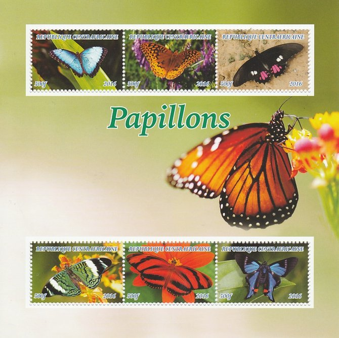 Central African Republic 2016 Butterflies perf sheetlet containing 6 values unmounted mint. Note this item is privately produced and is offered purely on its thematic appeal