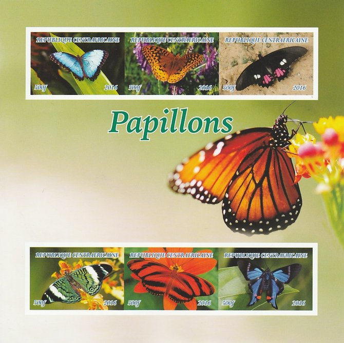 Central African Republic 2016 Butterflies imperf sheetlet containing 6 values unmounted mint. Note this item is privately produced and is offered purely on its thematic appeal