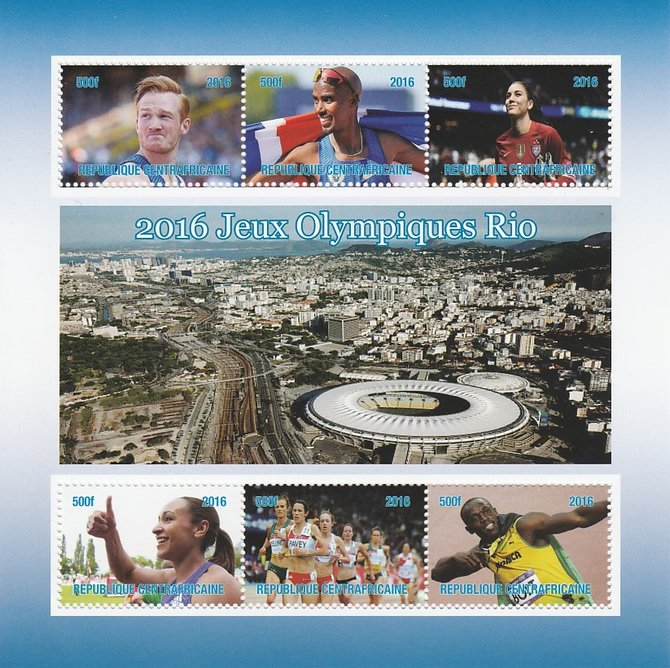 Central African Republic 2016 Rio Olympics perf sheetlet containing 6 values unmounted mint. Note this item is privately produced and is offered purely on its thematic appeal