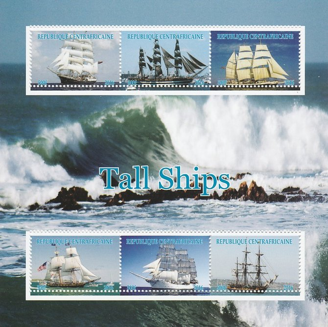 Central African Republic 2016 Tall Ships perf sheetlet containing 6 values unmounted mint. Note this item is privately produced and is offered purely on its thematic appe...