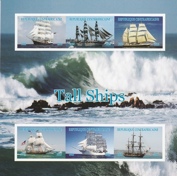 Central African Republic 2016 Tall Ships imperf sheetlet containing 6 values unmounted mint. Note this item is privately produced and is offered purely on its thematic appeal