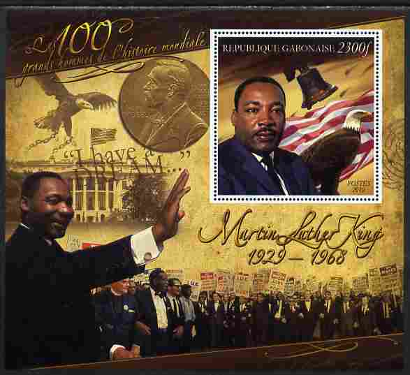 Gabon 2010-12 Greatest Personalities in World History - Martin Luther King large perf s/sheet unmounted mint
