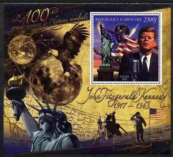 Gabon 2010-12 Greatest Personalities in World History - John F Kennedy large perf s/sheet unmounted mint