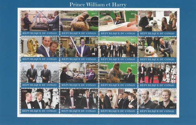 Congo 2017 Prince William & Harry perf sheetlet containing 16 values unmounted mint. Note this item is privately produced and is offered purely on its thematic appeal