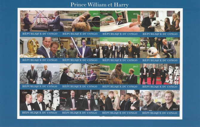 Congo 2017 Prince William & Harry imperf sheetlet containing 16 values unmounted mint. Note this item is privately produced and is offered purely on its thematic appeal, it has no postal validity