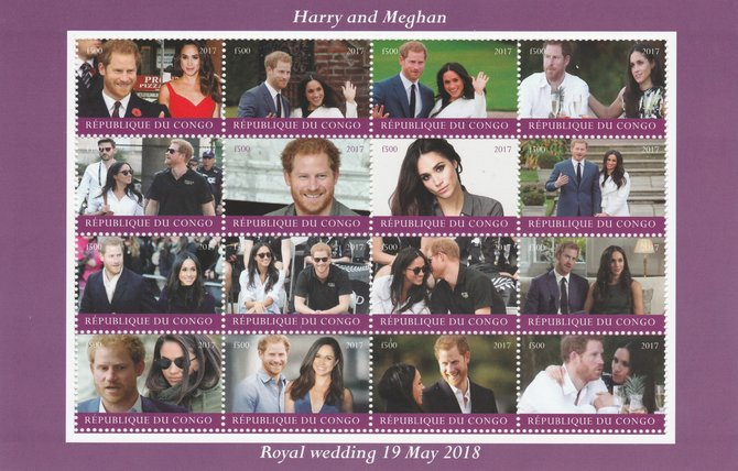Congo 2017 Prince Harry & Meghan perf sheetlet containing 16 values unmounted mint. Note this item is privately produced and is offered purely on its thematic appeal
