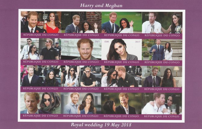 Congo 2017 Prince Harry & Meghan imperf sheetlet containing 16 values unmounted mint