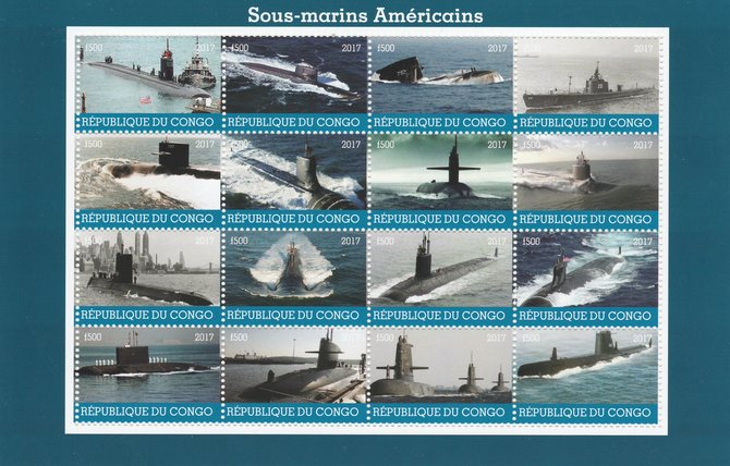 Congo 2017 Submarines of America perf sheetlet containing 16 values unmounted mint. Note this item is privately produced and is offered purely on its thematic appeal